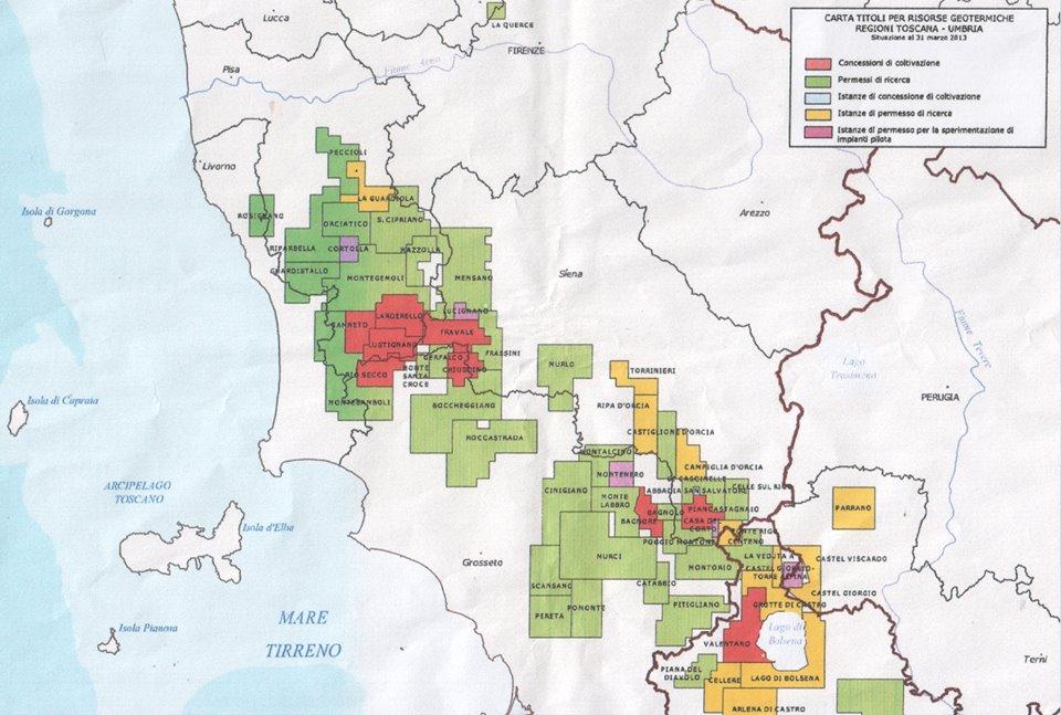 Cartina delle concessioni di ricerca geotermica in Toscana