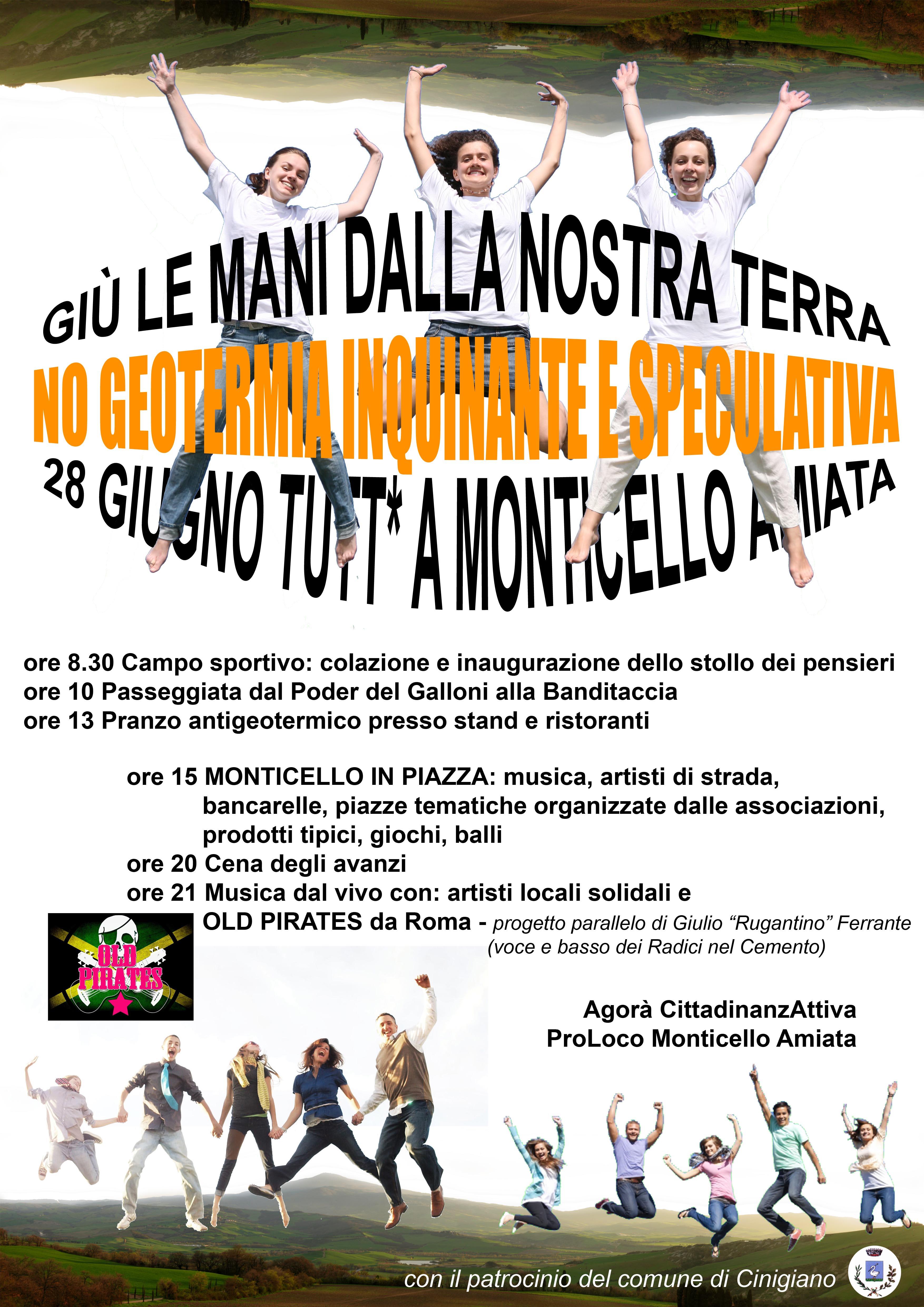 Manifesto della manifestazione del 28 giugno a Monticello Amiata contro la geotermia