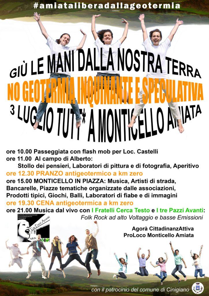 Il manifesto della giornata del 3 luglio a Monticello Amiata: giù le mani dalla nostra terra!